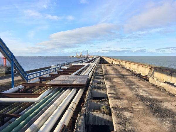 Строительные работы произведенные в течении 1 года по реконструкции Северного мола Вентспилсского свободного порта