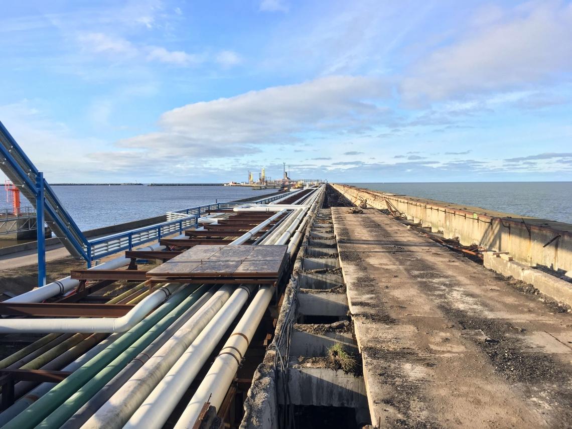 Ventspils brīvostas Ziemeļu mola atjaunošanas 1 gada laikā veiktie būvdarbi